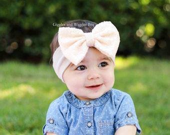 Baby girl headbands, cream bow head wrap, sequin sparkle bow, infant headband, baby head wrap, baby bows, cream headbands, 1st birthday