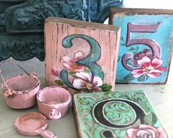 Set of 10 Rustic Wedding Custom Table Number Wood Blocks Hand Painted floral beach wedding barn wedding