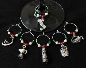 Italian Theme Wine Glass Charms-Set of 6-ITALY001-6