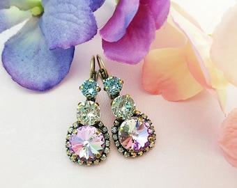 Alexandrite Crystal Earrings, Swarovski Violet and Aquamarine Earrings, June Birthstone, Bronze Anniversary, Mermaid Statement Earring E3932