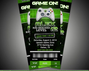 ticket gaming gamer party invitation - Video Game Party Invitations