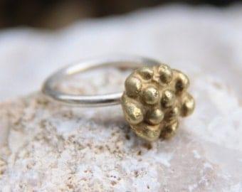 Flower ring sterling silver. OOAK ring. golden brass. rasberry ring
