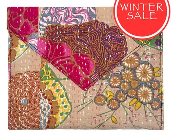 WINTER SALE - Tablet Sleeve / Clutch Bag - Tropical Flower Beige Pattern