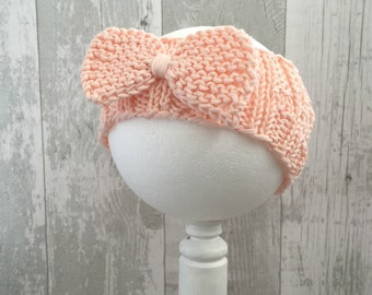 Baby Girl Headbands and Bows, Peach Baby Headband, Newborn Girl Coming Home Outfit, Ear Warmer, Toddler Bow Headband, Newborn Accessories