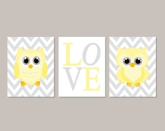 Yellow Gray Nursery Owl Nursery Wall Art Owl Nursery Decor Baby Girl Nursery Art Girl Nursery Pictures Set of 3 Prints Or Canvas Art