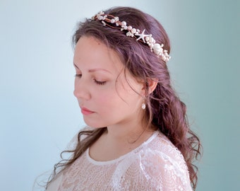 seashell crown, beach wedding crown, starfish headband, seashell headpiece, starfish crown, starfish headpiece - ASTRA