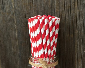 100  Red Striped Straws, VIntage Paper Straws, Birthday, Circus/Carnival Party, 4th of July, Patriotic