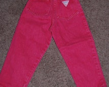 80s Guess 3Y red jeans George Marciano designer USA vtg elastic waist kids colored denim