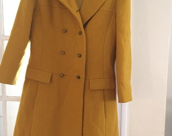 Vintage yellow wool coat, women, made in USA, 60s