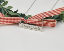 Sterling Silver name bar necklace,engraved name on pendant,gift for lover-custom any name-handmade jewelry