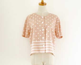 Pink Katies top. 80s pink boxy top. White pink polka dot shirt. White pink striped shirt. 80s pastel pink top. Pink summer top. Size M