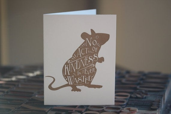 The Lion and the Mouse Letterpress Folded Card