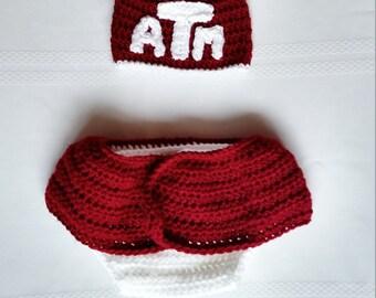 ATM Aggies Beanie & Skirted Diaper Cover Set - 3-6 months