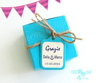 Blue Wedding Favor Box with Personalized Tag_  Pastel Rustic Favor_Multicoloured Favor Box_Jewelry Gift Box_ Choose Color_Your Wedding Color