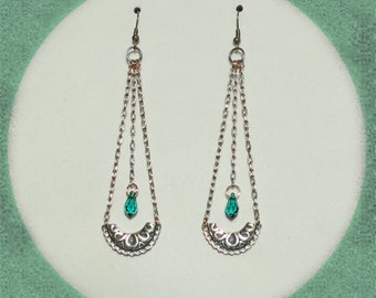 Chandelier  - Multi-Metal Earrings with Emerald Green Swarovski Crystals