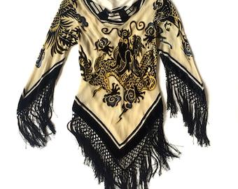 Vintage burnout velvet long sleeve dragon top with fringe