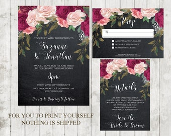 chalkboard wedding invitation, Printable wedding invitation set, digital wedding invitation suite, burgundy wedding invitation, YOU PRINT