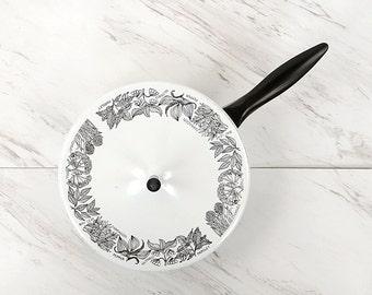 Vintage 1960's White Enamel Novelty Garden Herb Black + White Mod Cooking Pot Pan Mod Kitchen Decor