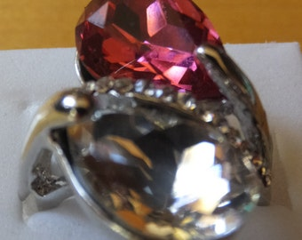 Cubic Zircon and Sterling Silver Ring.....Size 8