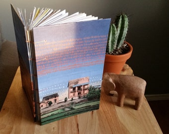 Madagascar Sunrise Upcycled/Recycled Notebook/Travel Journal with Pockets; Eco-Friendly, Repurposed, Collage