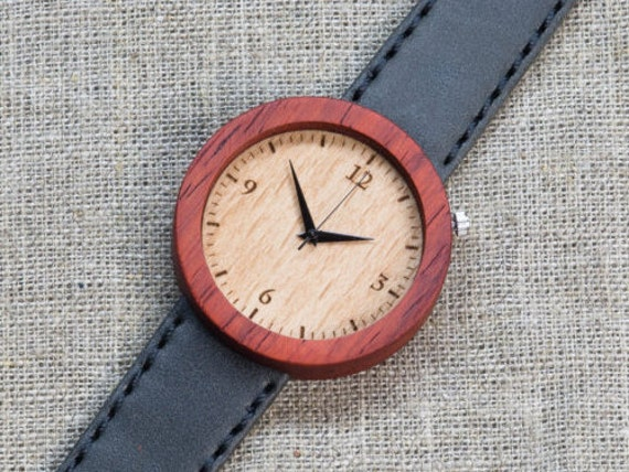 African Padauk minimal wood watch , Majestic Watch,  Gray  Genuine Leather strap + Any Engraving / Gift Box. Anniversary  gift