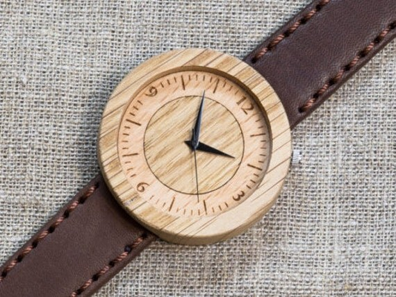 Far Eastern Oak DESIGNER wood watch, Best Watch,  Brown Genuine Leather strap + Any Engraving / Gift Box. Anniversary  gift