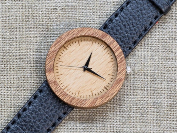 African Sapele minimal wood watch , Majestic Watch, Black Genuine Leather strap + Any Engraving / Gift Box. Anniversary  gift