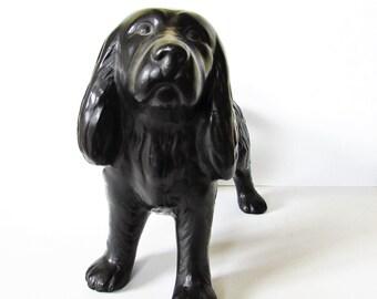 A Large Ceramic Black Dog Figurine - Standing Pose - No 22.  /MEMsArtShop.
