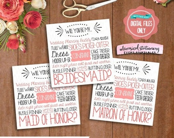 3PC Set Bridesmaid Proposal Cards; Set includes Bridesmaid, Maid of Honor, Matron of Honor (Printable File Only) Ask Bridesmaid