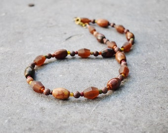 Rustic Gemstone Necklace, Natural Jewelry, Birthstone Necklace, Resin Jasper Necklace, Boho Jewelry, Earthy Brown Mens Necklace, Mom Gift
