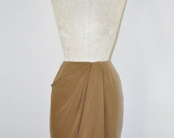90s silk wrap skirt / 1990s toffee silk skirt / vintage short pencil skirt