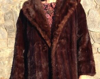Brown mink coat | Etsy