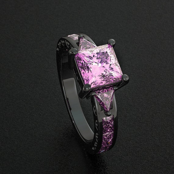 Black Gold Filled Ring Light Lavender Pink Amethyst Princess Cut CZ Diamonds