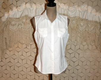 White Cotton Blouse Sleeveless White Shirt Button Up Summer Top Fitted Tailored Cotton Shirt White Blouse White Tops Medium Womens Clothing