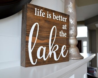 """Lake Cabin Block Sign, 9x9"""" Chunky Wood Sign, Cabin Decor, Lake Home, Block Sign, Sign with Words, Desk Sign, Mantel Sign, Lake Life Decor"""
