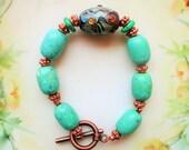 Lampwork bracelet, Turquoise bracelet, Chrysoprase bracelet, boho chic bracelet, green turquoise bracelet, gift for her