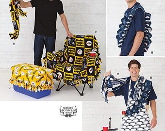 Simplicity 1709 Tailgating Accessories Apron, Beer can holder, Scarf, Cooler Cover Top and Side, Keg Cozy and Chair Cover. Pattern is new.