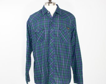70s Vintage Western Shirt | Green and Blue Plaid Cowboy Shirt with Blue Pearl Snaps | Size Extra Large | Retro Grunge Workwear Rockabilly