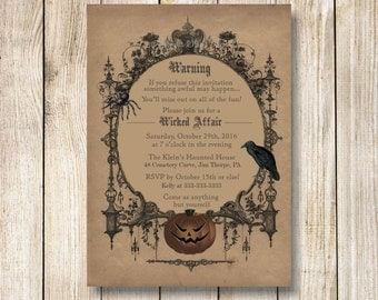 Halloween Invitation, Goth Halloween Party Invitation, Printable Spooky Halloween Party Invitation, Costume Party Invitation