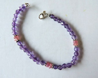 Bracelet ruby, amethyste and sterling silver, hand-made.