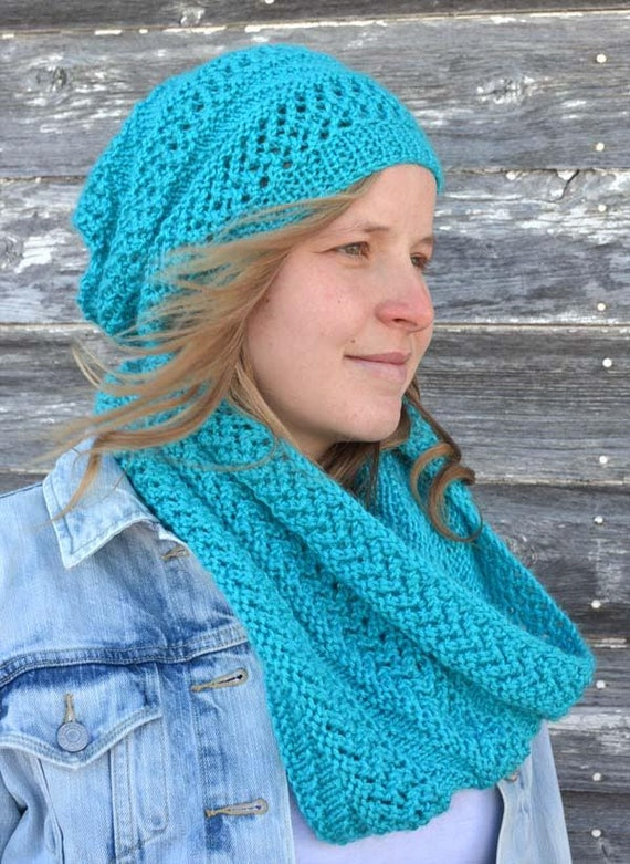 Knitting Patterns For Scarves And Hats : KNITTING PATTERN PDF Hat and Scarf set Knit pattern hat and