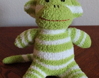 Handcrafted Fuzzy Baby Sock Monkey - Large