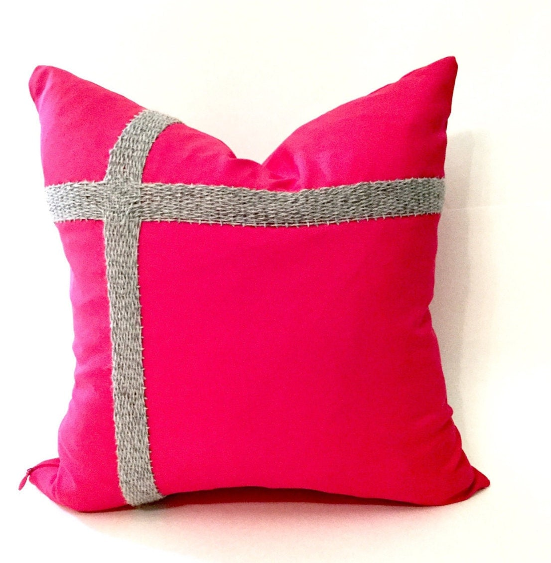 hot pink decorative throw pillow case grey by kelseyannkosinski. Black Bedroom Furniture Sets. Home Design Ideas