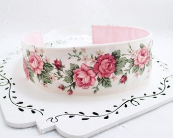 Womans Pink Headband, 2 Inch Womans Headband, Reversible Headband, Flower Headband, Rose Headband, Pink Headband, Gift Under 15