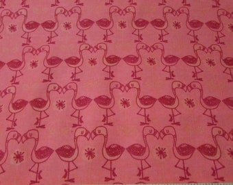 Flannel Fabric - Flamingo Kisses Grapefruit - 1 yard - 100% Cotton Flannel