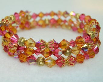 Indian Pink and Astral Pink Crystal Memory Wire Bracelet
