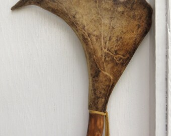 Walking stick/ceremonial staff, made of alder with caribou antler top, First Nations decoration