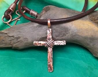 Mens cross necklace mens copper cross mens forged cross mens tree bark cross mens copper cross mens cross necklace mens rugged cross aloadofball Choice Image