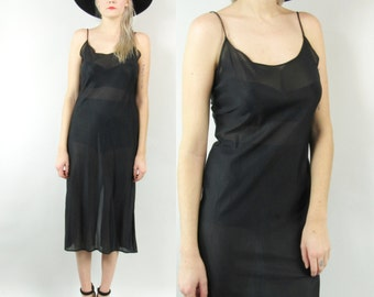 90s Sheer Black Slip Dress Size Small Medium