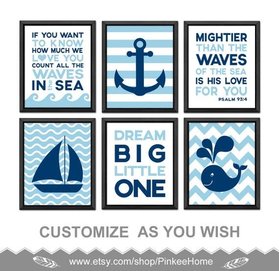 items similar to nautical nursery prints nautical baby room decor christian nursery nautical. Black Bedroom Furniture Sets. Home Design Ideas